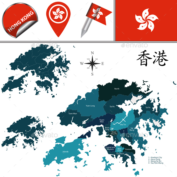 Map of Hong Kong with Districts - Travel Conceptual