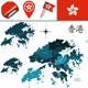 Map of Hong Kong with Districts - GraphicRiver Item for Sale