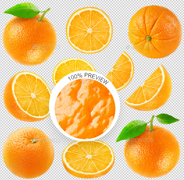 Collection of Isolated Oranges