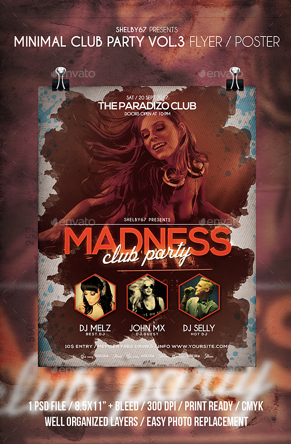 Minimal Club Party Flyer / Poster Vol 3 - Clubs & Parties Events