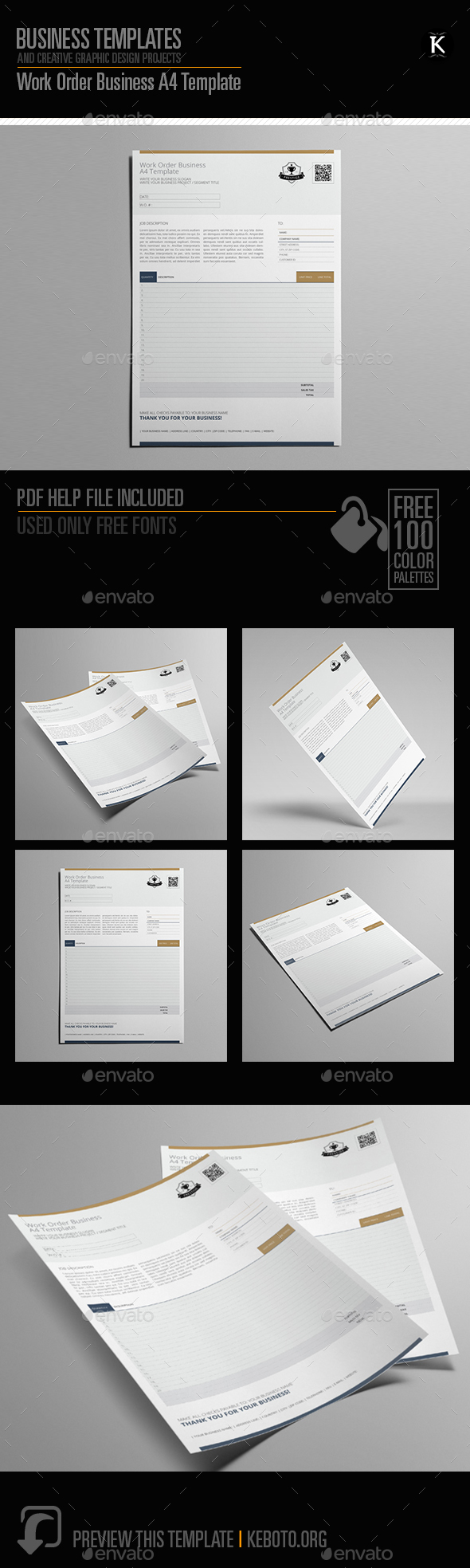 Work Order Business A4 Template - Miscellaneous Print Templates