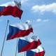 Row of Waving Flags of the Czech Republic Agaist Blue Sky