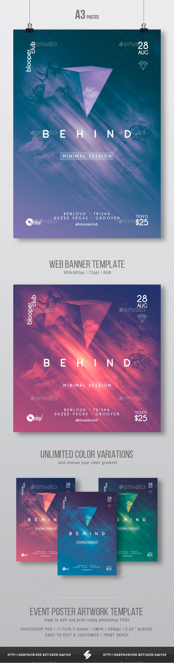 Behind - Minimal Party Poster / Flyer Artwork Template A3 - Clubs & Parties Events