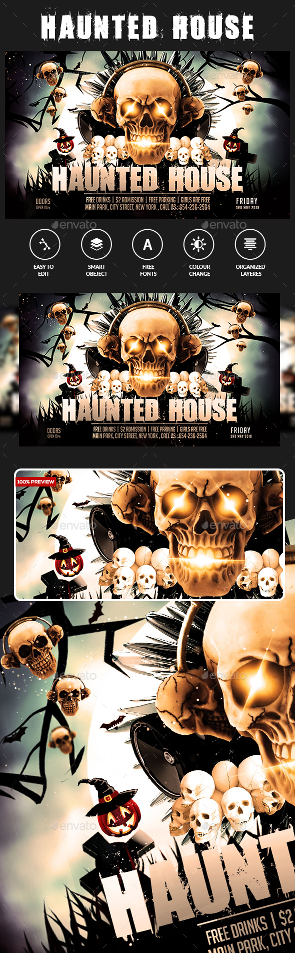 Hunted House Flyer - Clubs & Parties Events