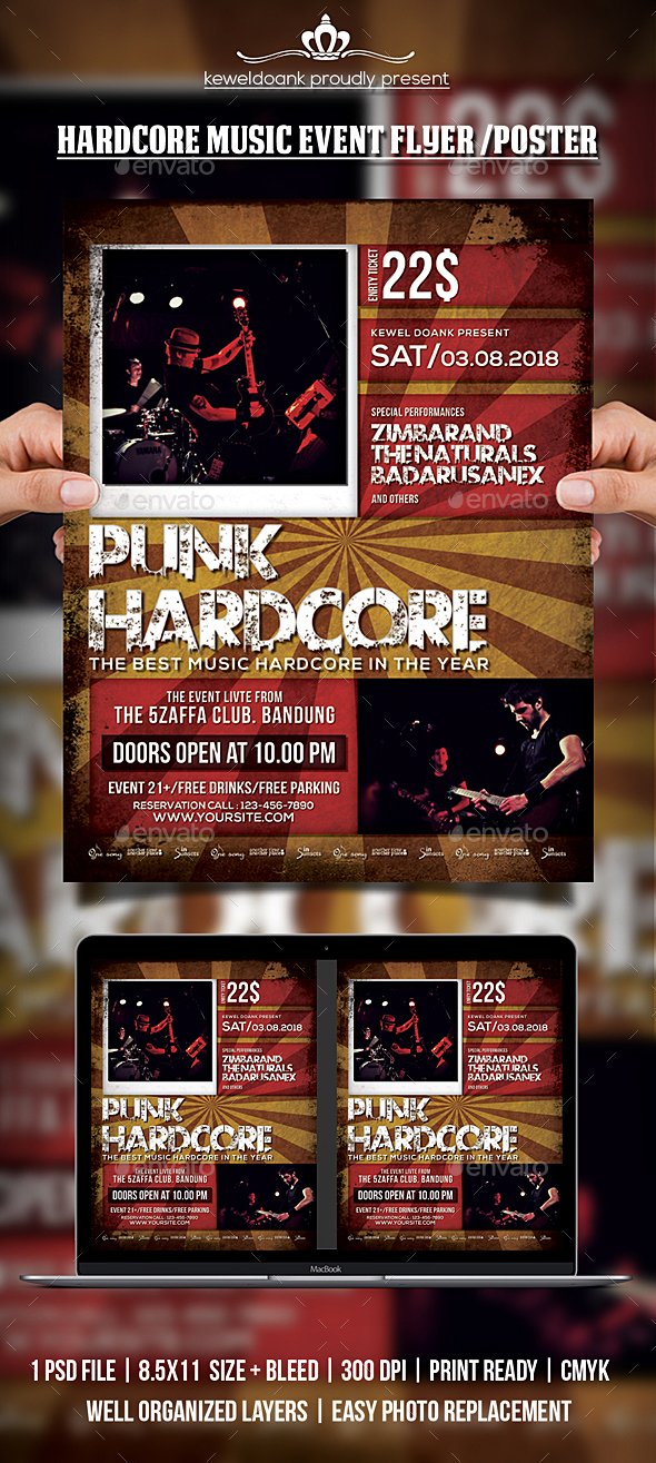 GraphicRiver Hardcore Music Event Flyer Poster 20621467