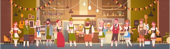 Group Of People Drink Beer In Bar Oktoberfest - Food Objects