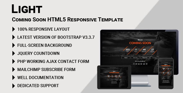 ThemeForest Light Coming Soon HTML5 Responsive Template 20518804