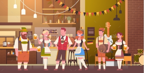 GraphicRiver Group Of People Drink Beer In Bar Oktoberfest 20621612