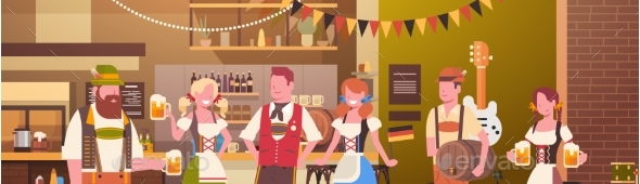 GraphicRiver Group Of People Drink Beer In Bar Oktoberfest 20621618