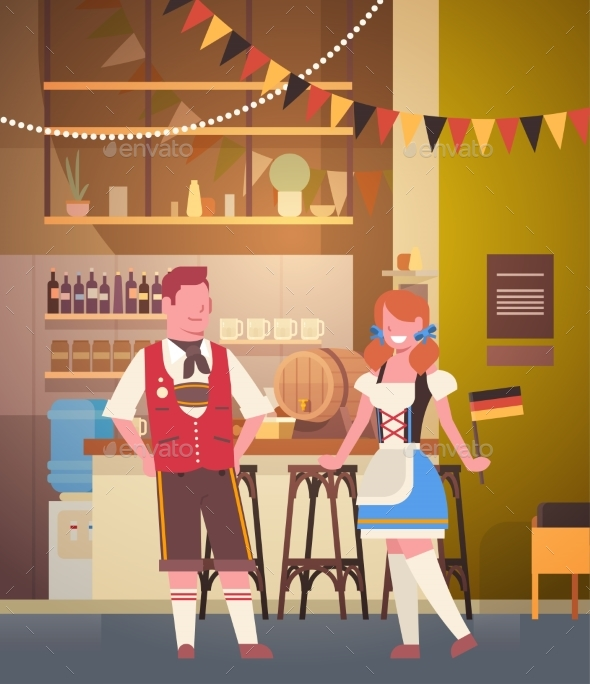 GraphicRiver Couple In Pub Wearing Traditional Clothes Drink 20621635
