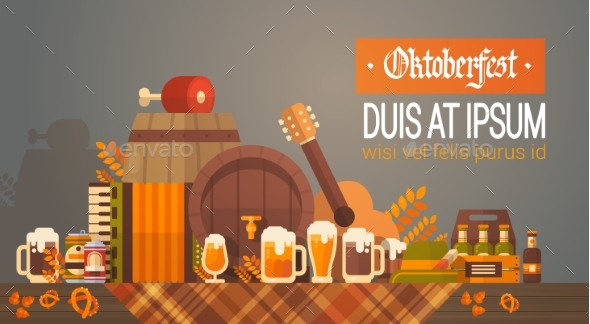 Oktoberfest Beer Festival Banner Wooden Barrel - Miscellaneous Vectors