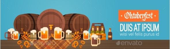 Oktoberfest Beer Festival Banner Wooden Barrel - Miscellaneous Vectors