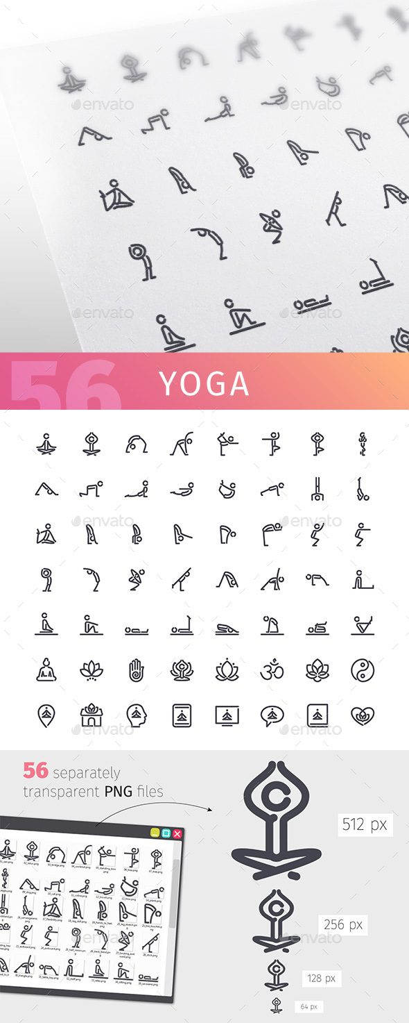 GraphicRiver Yoga Line Icons Set 20621672