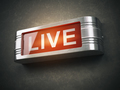 Live red glowing warning signboard. Record or broadcasting concept. - PhotoDune Item for Sale