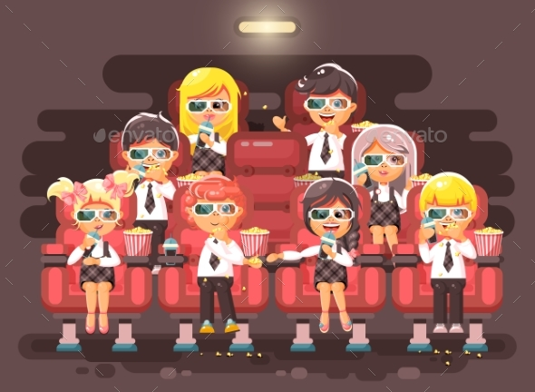 Cartoon Children Watching Movie - People Characters