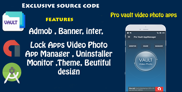 Pro Vault Photo Video + AppLock + Theme + AppManager + Monitor
