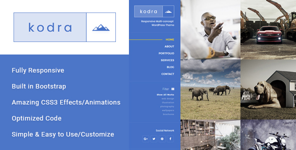 ThemeForest Kodra Full Screen Portfolio HTML Template 20622133