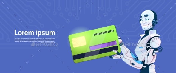 GraphicRiver Modern Robot Holds Credit Card Mobile Payment 20622151