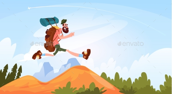 GraphicRiver Traveler Man Hiking In Mountains 20622501