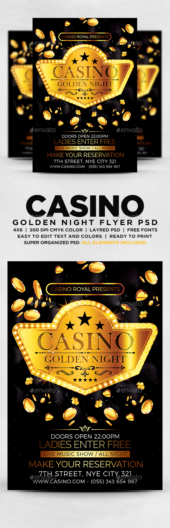GraphicRiver Casino Golden Night Flyer 20622523