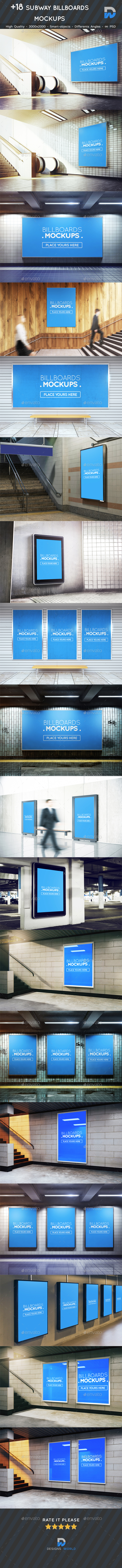 GraphicRiver &18 Subway Billboards Mockups 20622661