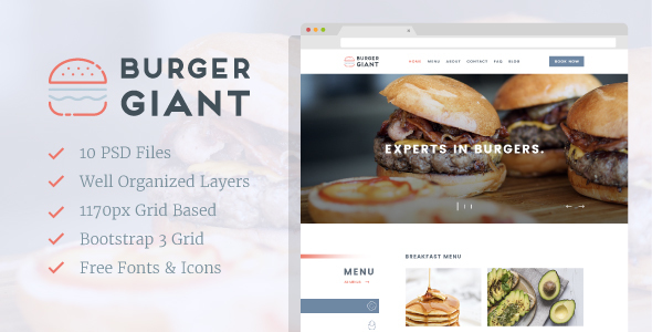 Burger Giant - Restaurant and Cafe PSD Template - Business Corporate
