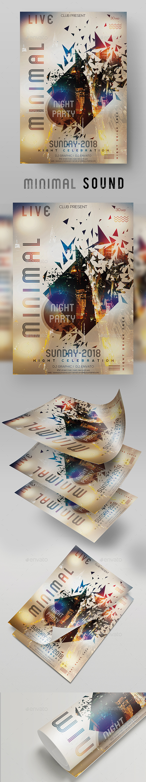 GraphicRiver Minimal Sound DJ Party Poster Flyer Templates 20622685