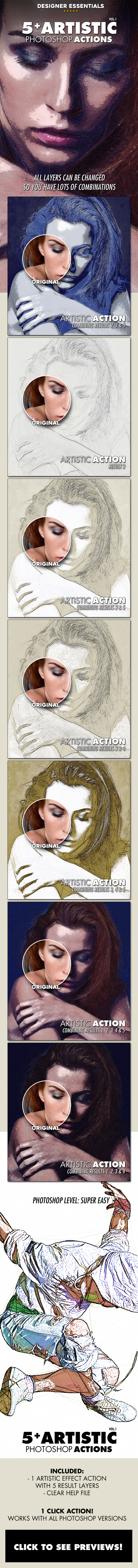 5 Artistic Effect Actions - Photo Effects Actions
