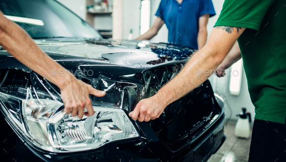 Transparent film, car paint protection - Stock Photo - Images