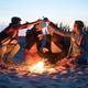 Hippie friends with guitar near bonfire - PhotoDune Item for Sale