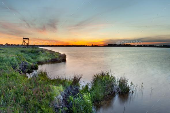 Sunset over Meeroevers, Meerstad - Stock Photo - Images