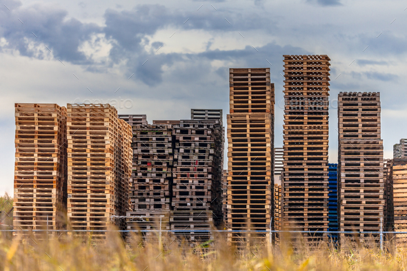 Pallet stacks at a Warehouse - Stock Photo - Images