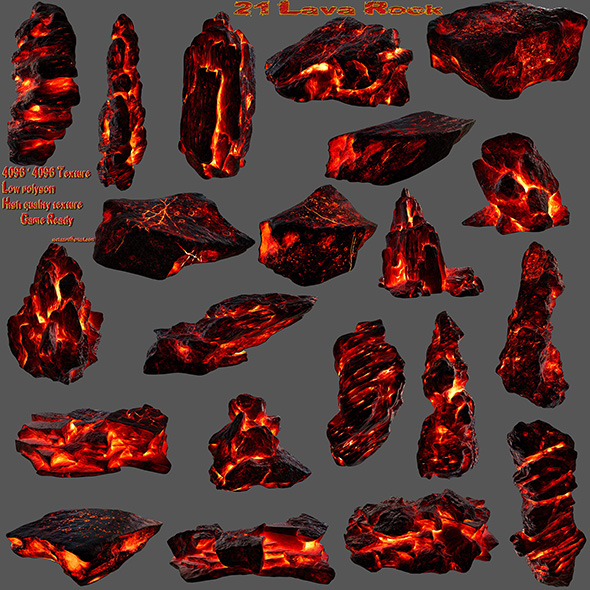 3DOcean lava rock set 07 20623093