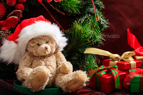 Christmas decoration, teddy bear and gifts - Stock Photo - Images