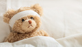 Teddy bear sick in the hospital