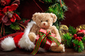 Christmas decoration, teddy bear and gifts