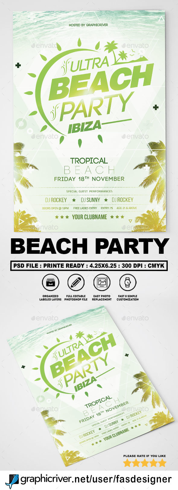 GraphicRiver Beach Party Flyer 20623210