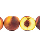 Ripe peaches in a row on white background - PhotoDune Item for Sale