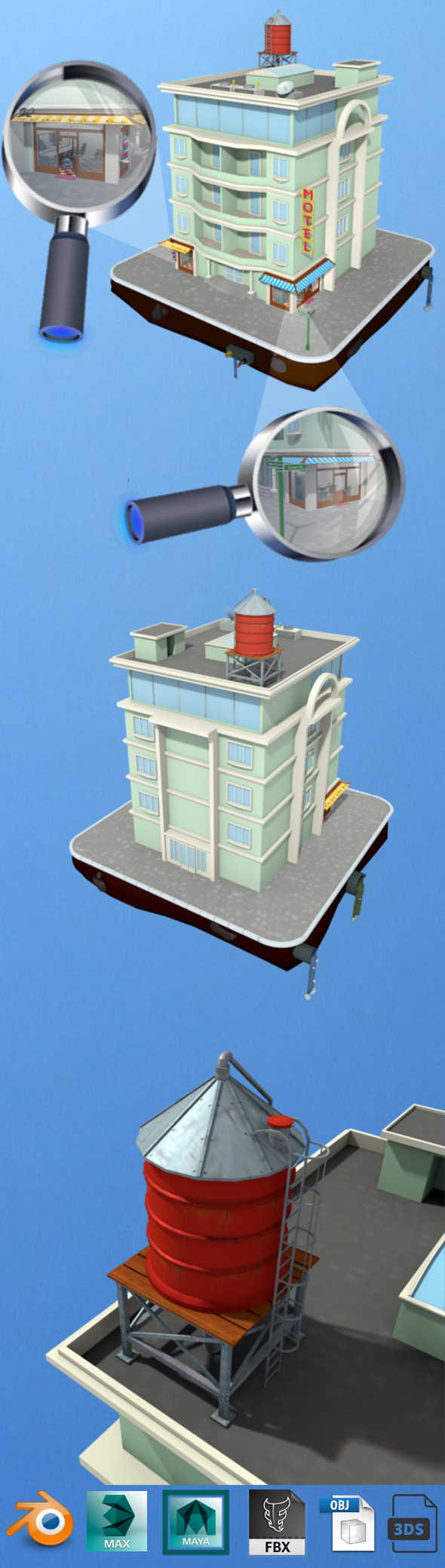 motel building low poly - 3DOcean Item for Sale
