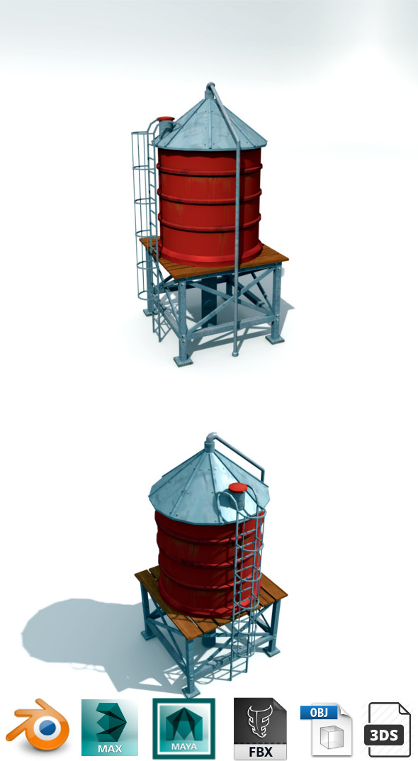 water tank low poly - 3DOcean Item for Sale