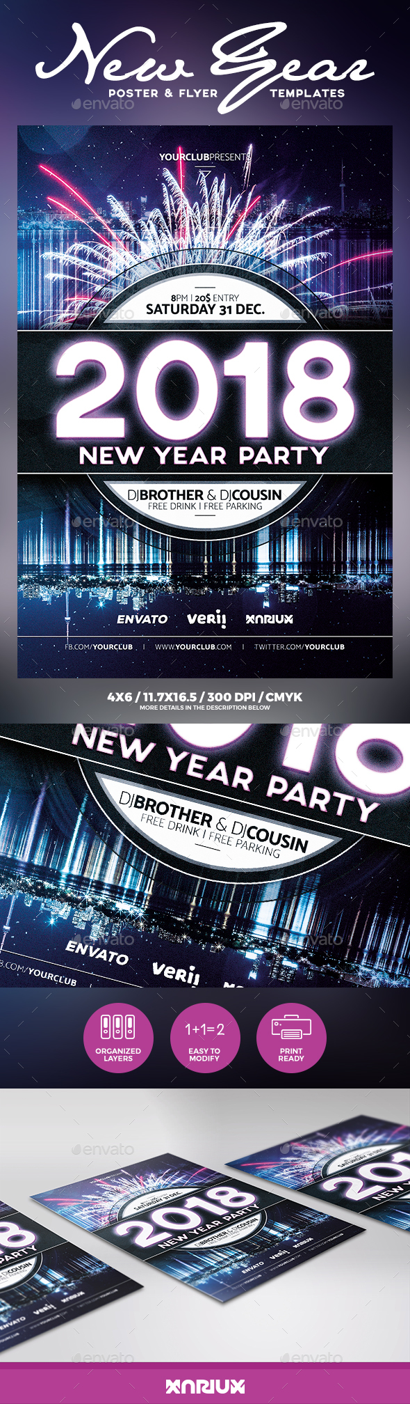 New Year Party Flyer Poster - Clubs & Parties Events