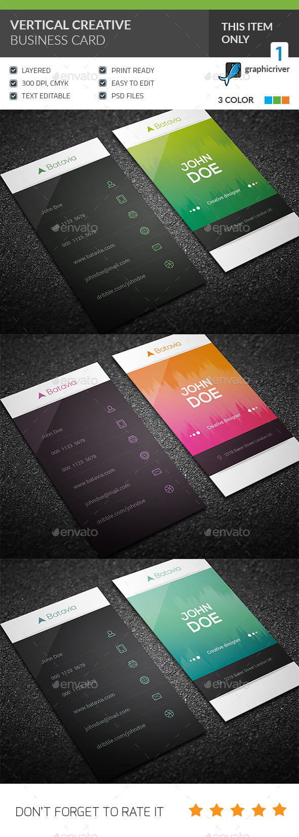 GraphicRiver Vertical Creative Business Card 20624448