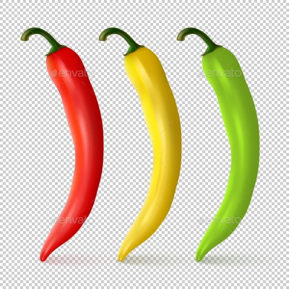 Vector Realistic Red, Yellow and Green Pepper - Food Objects