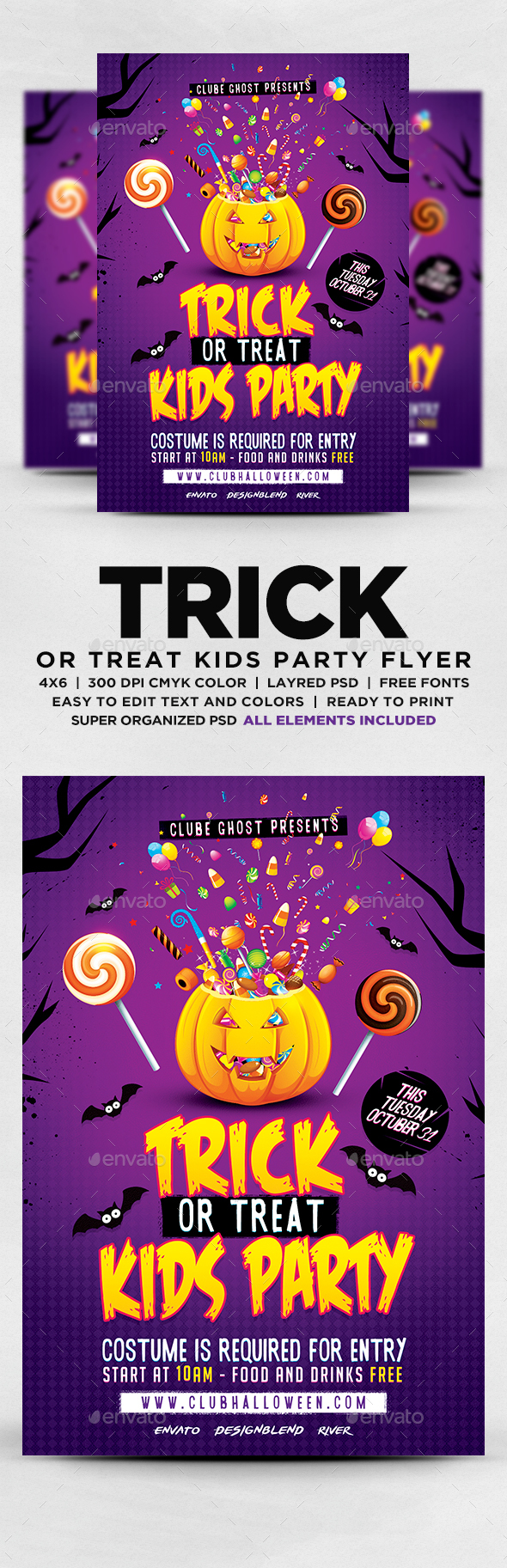 GraphicRiver Trick Or Treat Halloween Kids Party Flyer 20624527