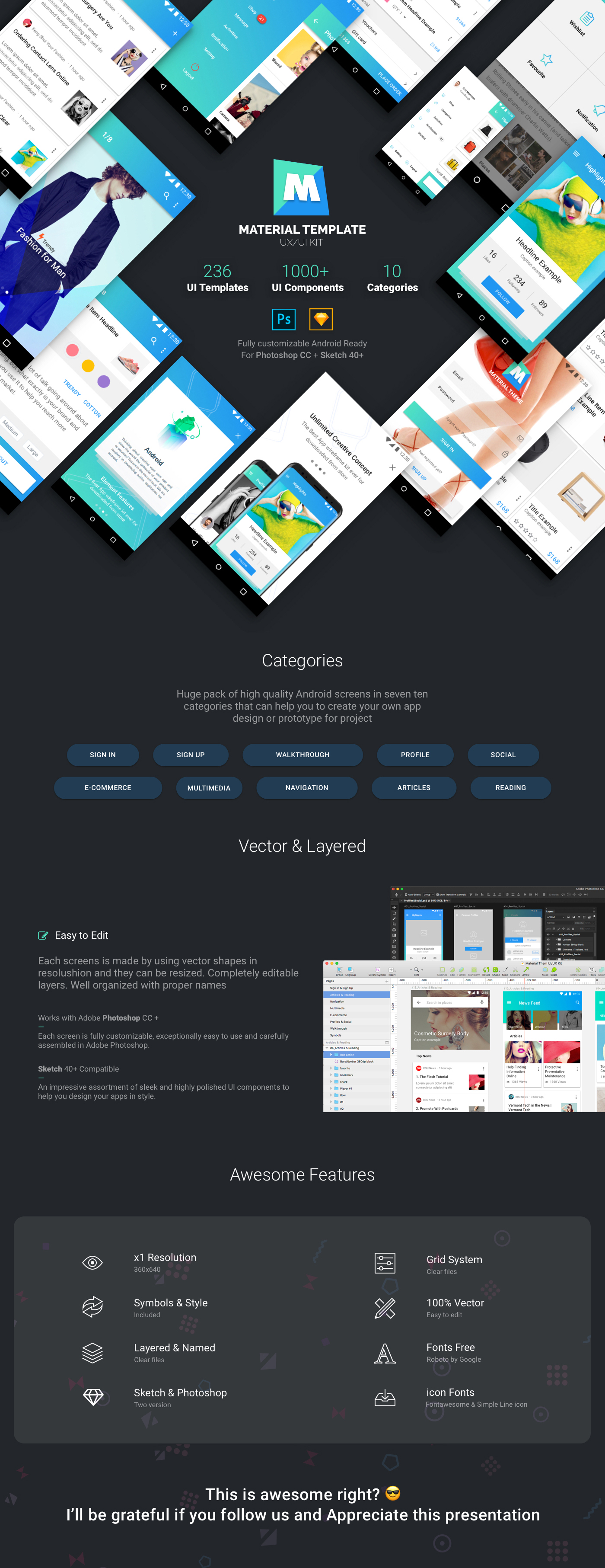 Material Template UX/UI Kit by tonytranstore | ThemeForest