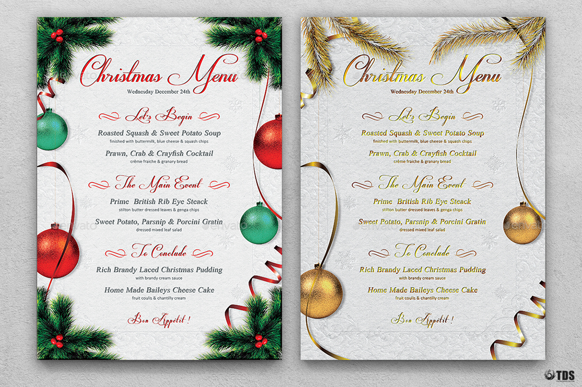 Free Editable Christmas Menu Templates Yolarnetonic
