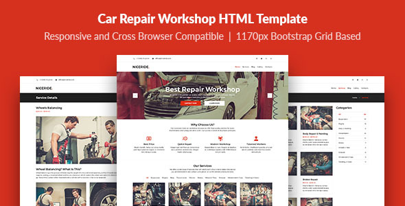 NICERIDE — Car Repair Workshop HTML Template - Business Corporate