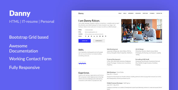 Danny — Web Developer Resume HTML Template