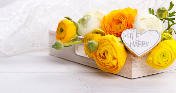 bouquet of yellow ranunculus - Stock Photo - Images