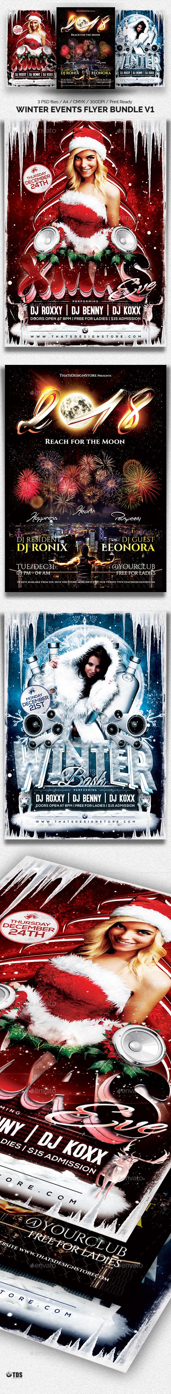 Winter Events Flyer Bundle - Clubs & Parties Events